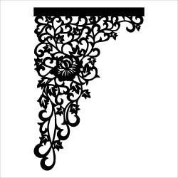 Ażur narożny N2 czarny - róża